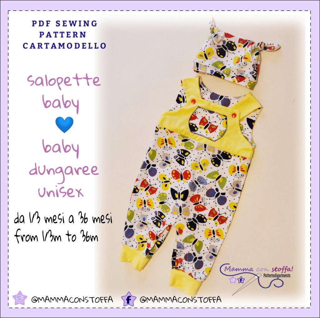 cartamodello salopette unisex baby con istruzioni