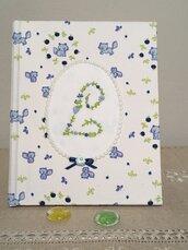 Diario del neonato, libro della nascita con ricamo a mano, Iniziale del bimbo