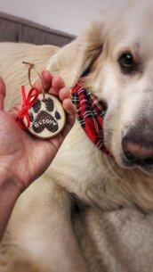 """Decorazione natalizia in legno personalizzata tema """"cane"""""""
