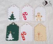 20 Etichette natalizie chiudipacco segnaposto addobbo
