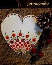 Cuore Bianco con Mandala Rosso Oro e Marrone