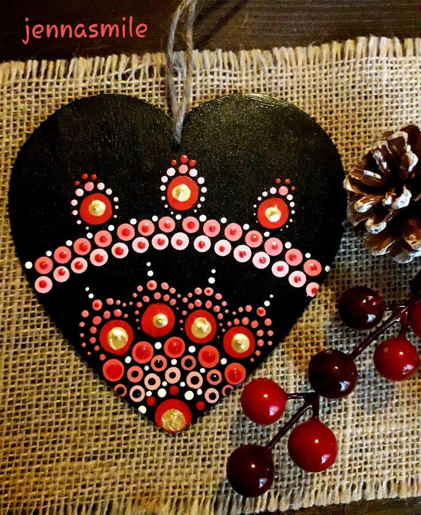 Cuore Nero con Mandala Rosso, Rosa e Oro