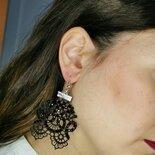 Orecchini pendenti pizzo nero gotic style - Bahira