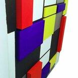Quadro Mondrian con innesti stampa 3D - Acrilici e stampa 3D su tela 40X40