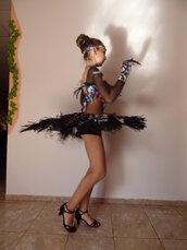 abito multicolore per la danza sportiva con frange e pietre