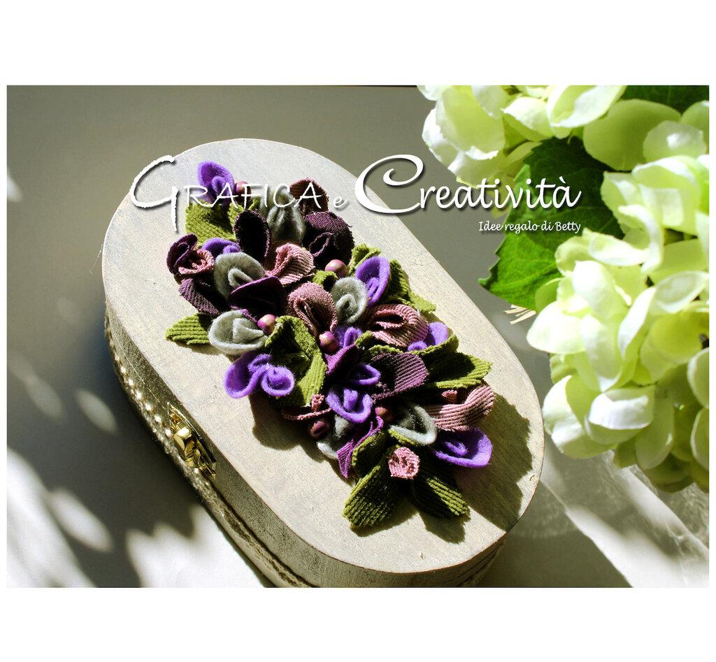 Scatola ovale in legno con fiorellini in feltro e stoffa ...