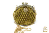 Borsellino portamonete o portaoggetti/ clic clac borsellino uncinetto oro
