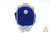 Borsellino portamonete o portaoggetti/ clic clac borsellino uncinetto blu