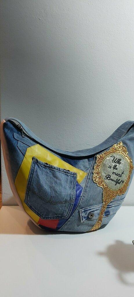 Borsa in jeans con applicazione specchio in paillettes