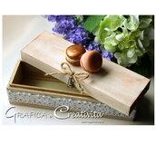 Scatola rettangolare in legno con macarons