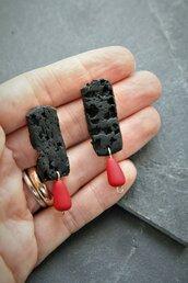 orecchini geometrici effetto lava e corallo in fimo _063_