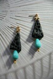 orecchini ad effetto lava in fimo con goccia in vetro turchese _066_
