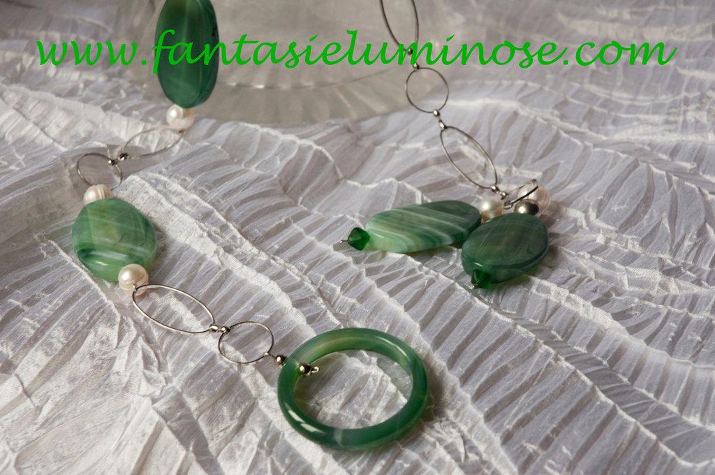collana agata verde e acciaio
