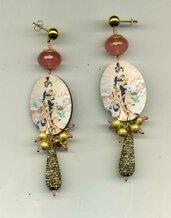 ORECCHINI pendenti multicolori con Geisha e goccia in strass
