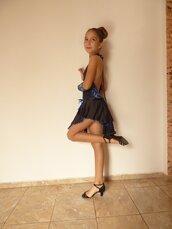 Vestito da ballo sportivo, combinazione di blu e nero,