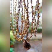 Lunghissima collana di perline toho color oro