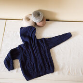 Pullover bambino in lana blu con cerniera -- su ordinazione