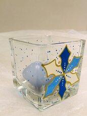 Cubo/portacandela in vetro dipinto a mano