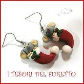 """Orecchini Natale """" FuCucù Topino grigio """" topo topolino cappello babbo natale bijouz natalizi"""