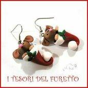 """Orecchini Natale """" Fucucù Babbo Natale  """"  topo topolino oro fimo cernit premo idea regalo bambina kawaii * anche con clip *"""