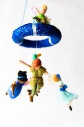 giostrina in lana cardata, Peter Pan e i suoi amici