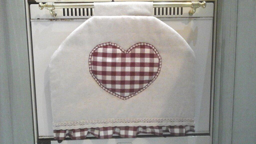 Copriforno per maniglia stretta, copri forno con cuore e pizzo, linea Basic in bordò