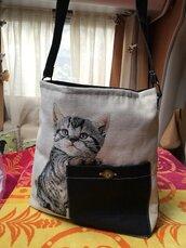 Borsa gatto grande tessuto artigianale idea regalo tracolla resistente