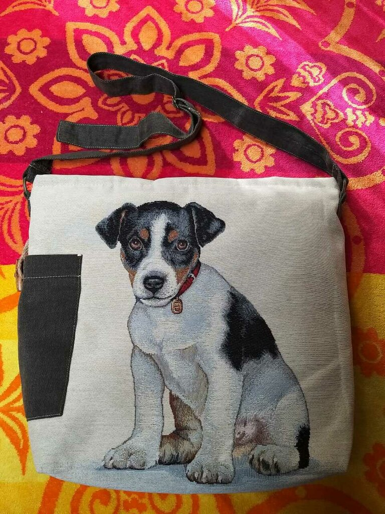 Borsa donna tracolla con cane idea regalo artigianale