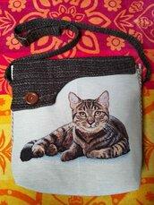 Borsa tracolla gatto tessuto artigianale pezzo unico