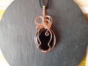 Ciondolo wire con ossidiana nera e laccetto