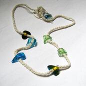 collana lunga all'uncinetto e vetri colorati veneziani pezzo unico