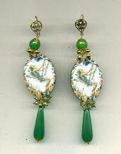 ORECCHINI pendenti verdi con elfo
