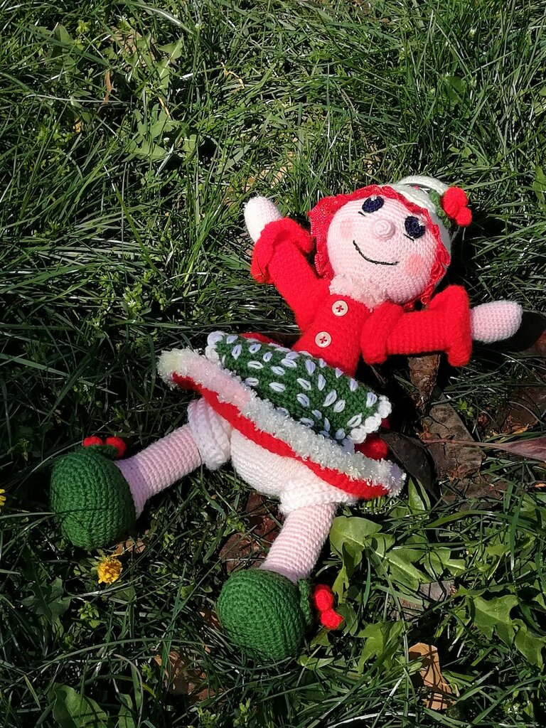Bambola nonnina Natale § Doll granny Christmas § Hand Knitted Crochet Toys