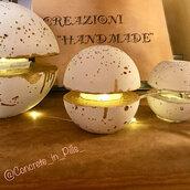 Lampada o Bajour Sfera di Cemento o Malta realizzata e decorata a mano