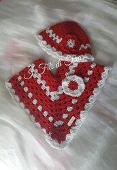 mantellina poncho + cappellino baby