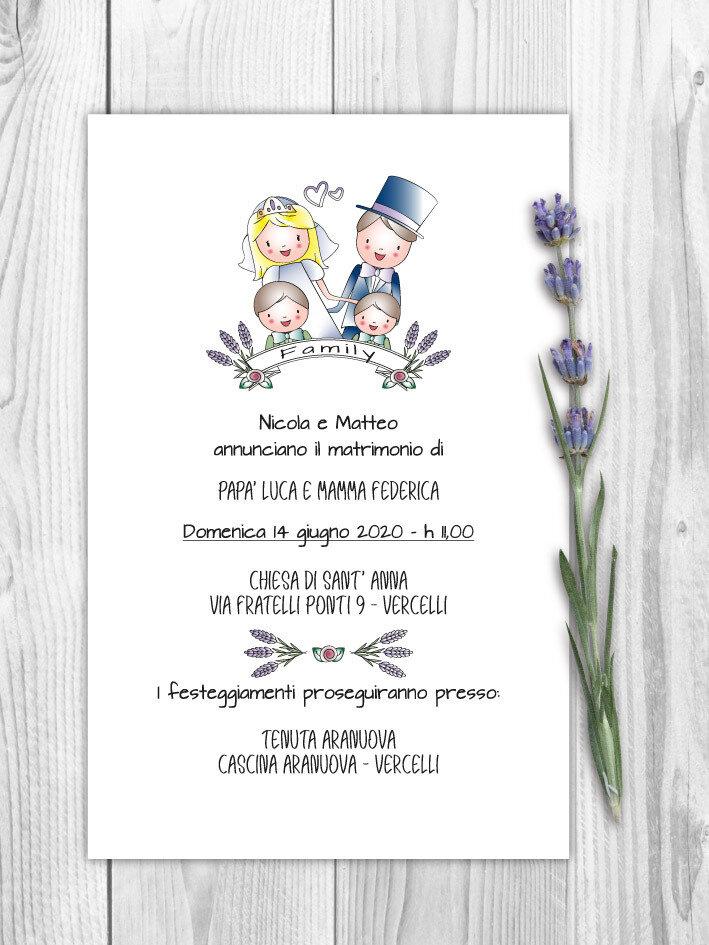 Partecipazioni Matrimonio Figli.Partecipazione Matrimonio Con Busta Floreale Con Disegno Sposi E