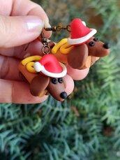 Orecchini Cane Bassotto salsiccia Babbo Natale in fimo, gioielli natalizi con cane per amanti dei bassotti, regalo di Natale con bassotto