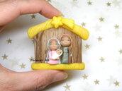 Presepe con capanna in miniatura natività sacra famiglia natale pasta di mais