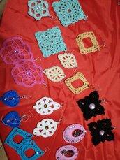 Orecchini in cotone fatti a mano colori a scelta