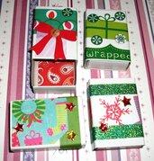 Lotto 3 - Scatoline decorate per Regali di Natale - Pacchettini Natalizi - Scrapbooking&Packaging (4pz)