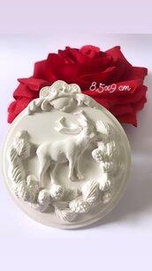 Medaglione natalizio in gesso ceramico
