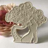 albero della vita con sposi in gesso ceramico