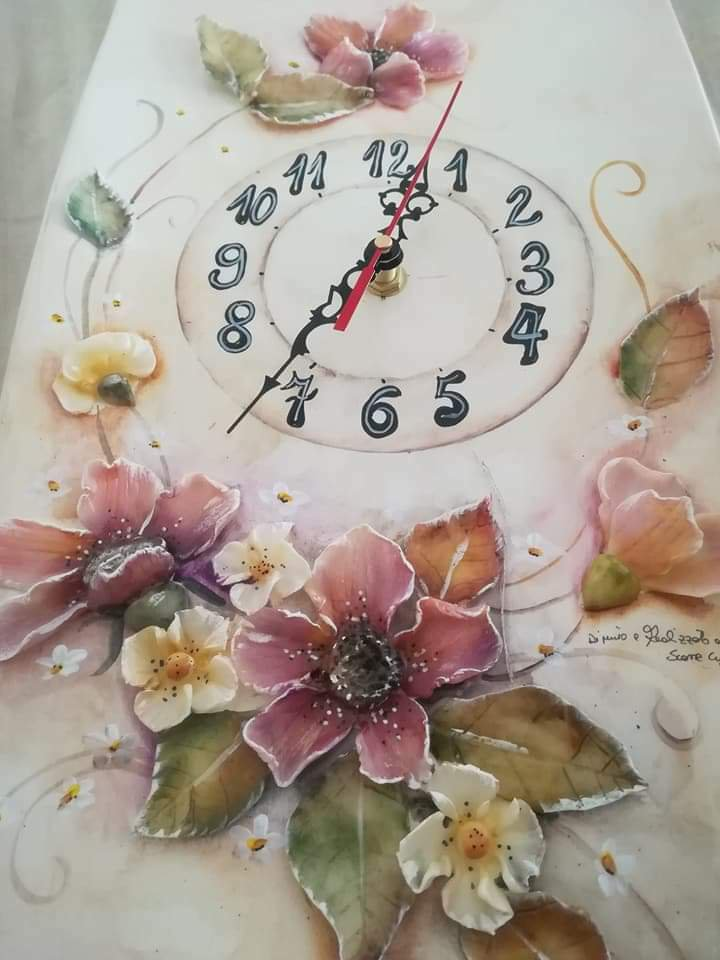 Orologio  ceramica a rilievo handmade