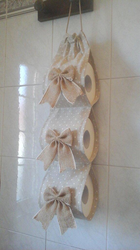 Porta rotoli Carta igienica shabby chic in beige con fiocchi in juta