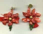 GRANDI ORECCHINI pendenti con stella di Natale a doppio strato
