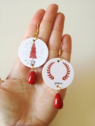 Natale orecchini di carta con ciondolo a forma di cerchio, fantasia natalizia e perla rossa, idea regalo Natale