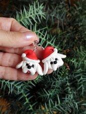 Orecchini in fimo cane maltese in fimo natalizi, gioielli natalizi come idea regalo per amanti dei cani o ricordo cane maltese