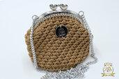Borsellino portamonete o portaoggetti/ clic clac borsellino uncinetto beige/oro