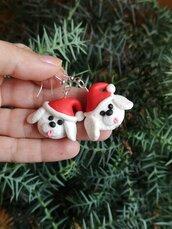Orecchini in fimo cane bolognese o barboncino in fimo natalizi, gioielli natalizi come idea regalo per amanti dei cani o ricordo cane