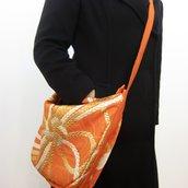 Borsa Comoda Elegante Spalla Donna Seta100% Oro di Obi/ Kimono Giapponese